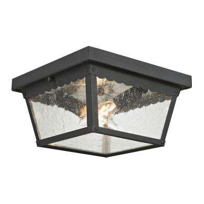 Springfield 2-Light Matte Textured Black Outdoor Flushmount