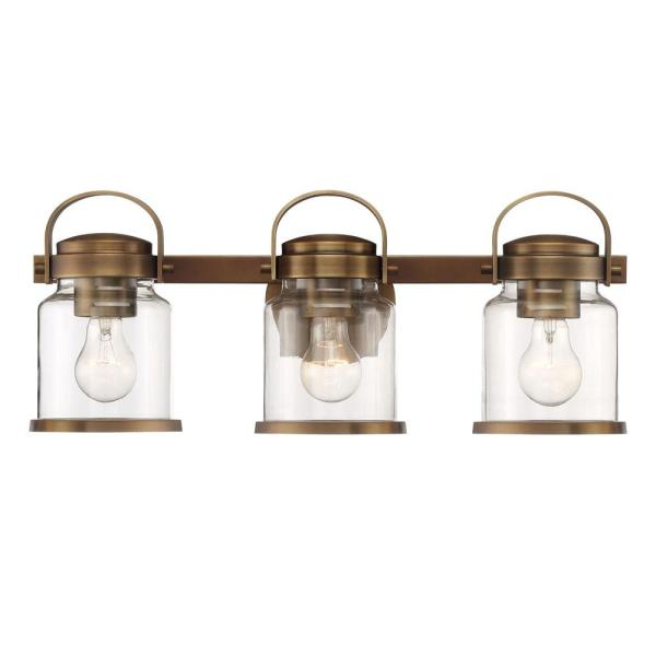 Easton 3-Light Old Satin Brass Bath Bar Vanity Light
