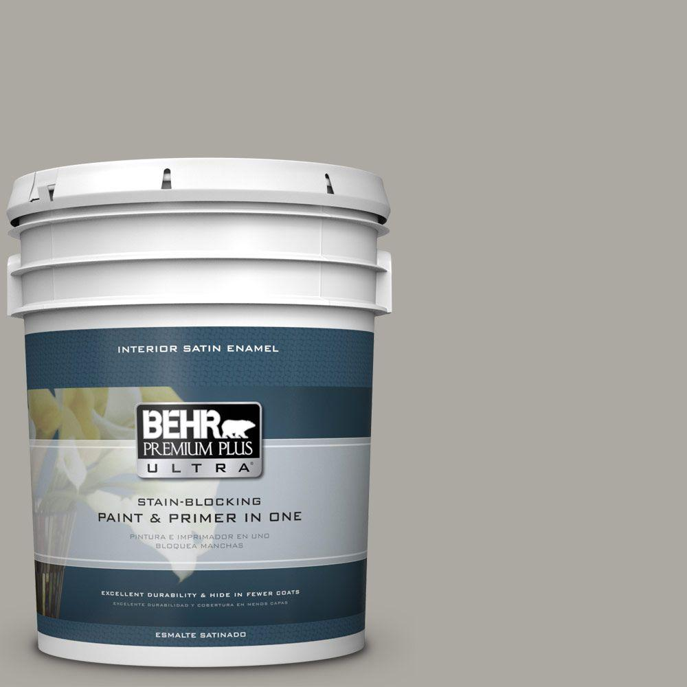 5 gal. #PPU24-10 Downtown Gray Satin Enamel Interior Paint