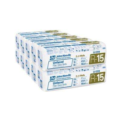 R-15 Unfaced Fiberglass Insulation Batt 15 in. x 93 in. (10-Bags)