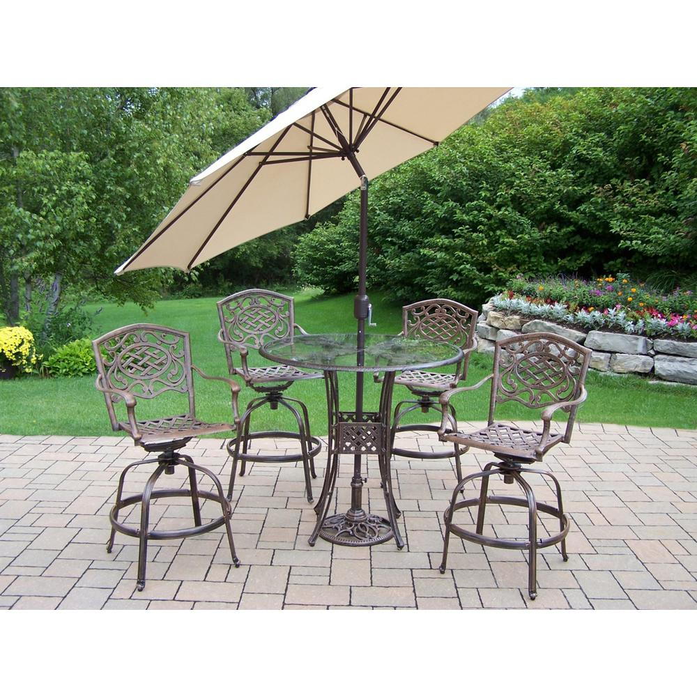 Aluminum 7-Piece Outdoor Bar Height Dining Set and Beige Umbrella