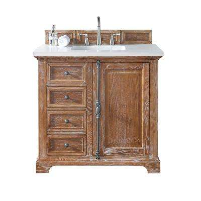 Providence 36 In W Single Vanity Driftwood With Quartz Top White