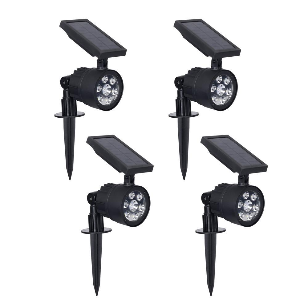 Solar 3.7-Volt Black LED Spotlight with Color Changing Light (4-Pack)