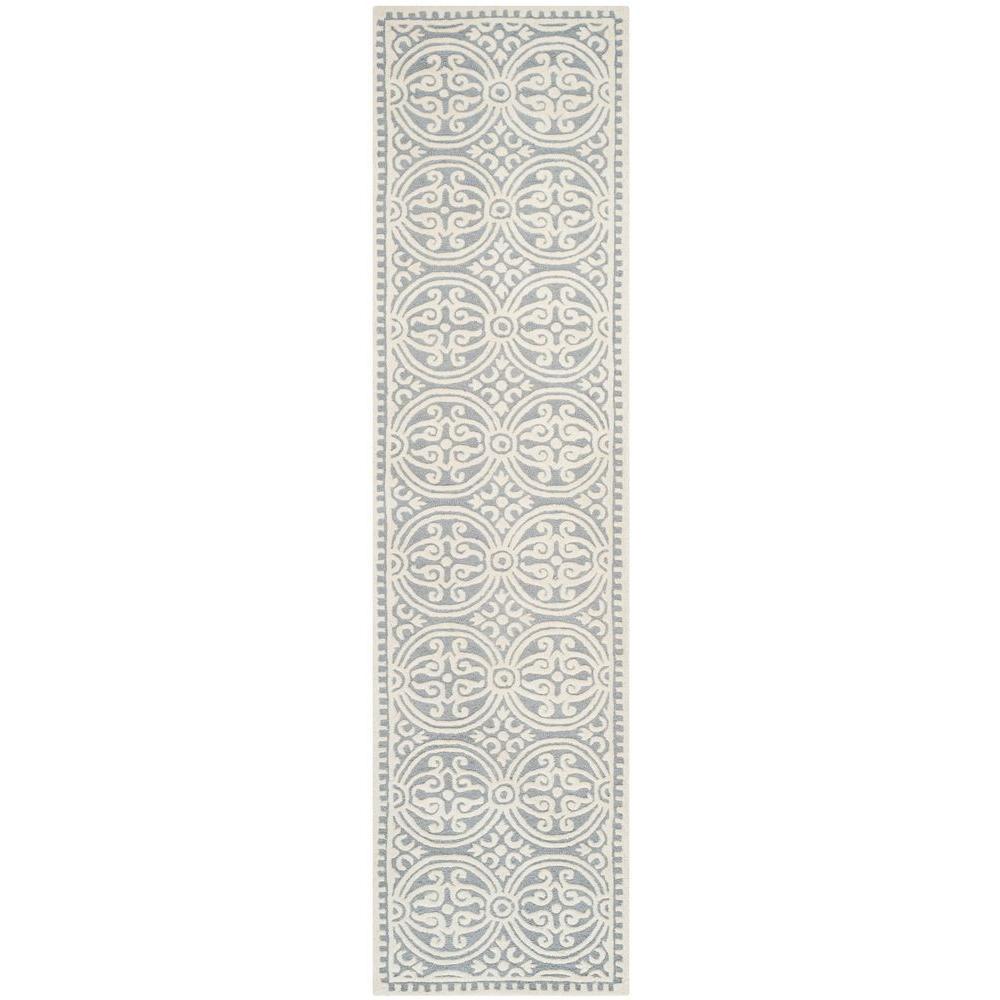 Cambridge Silver/Ivory 3 ft. x 20 ft. Runner Rug