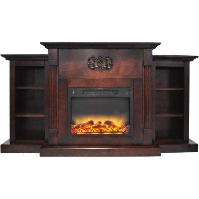 Classic 72 in. Electric Fireplace in Mahogany with Built-in Bookshelves and an Enhanced Log Display