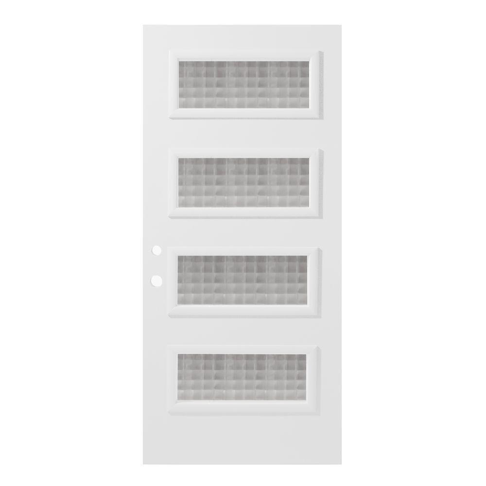 Stanley Doors 36 in. x 80 in. Lorraine Carre 4 Lite Painted White Right-Hand Inswing Steel Prehung Front Door