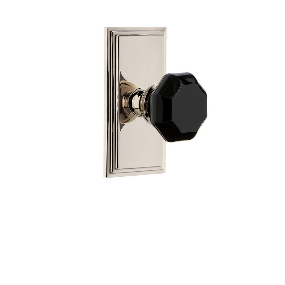 Carre' Rosette 2-3/8 in. Backset Polished Nickel Passage Hall/Closet Lyon Door Knob