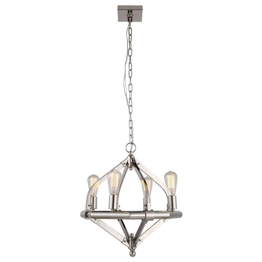 Illumina 4-Light Polished Nickel Pendant Lamp
