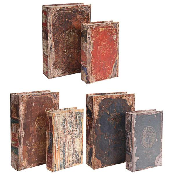 A & B Home 13 in. x 3 in. Decorative Book Boxes (6-Pack)