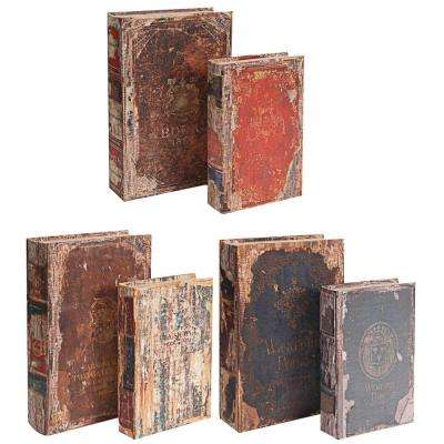 13 in. x 3 in. Decorative Book Boxes (6-Pack)