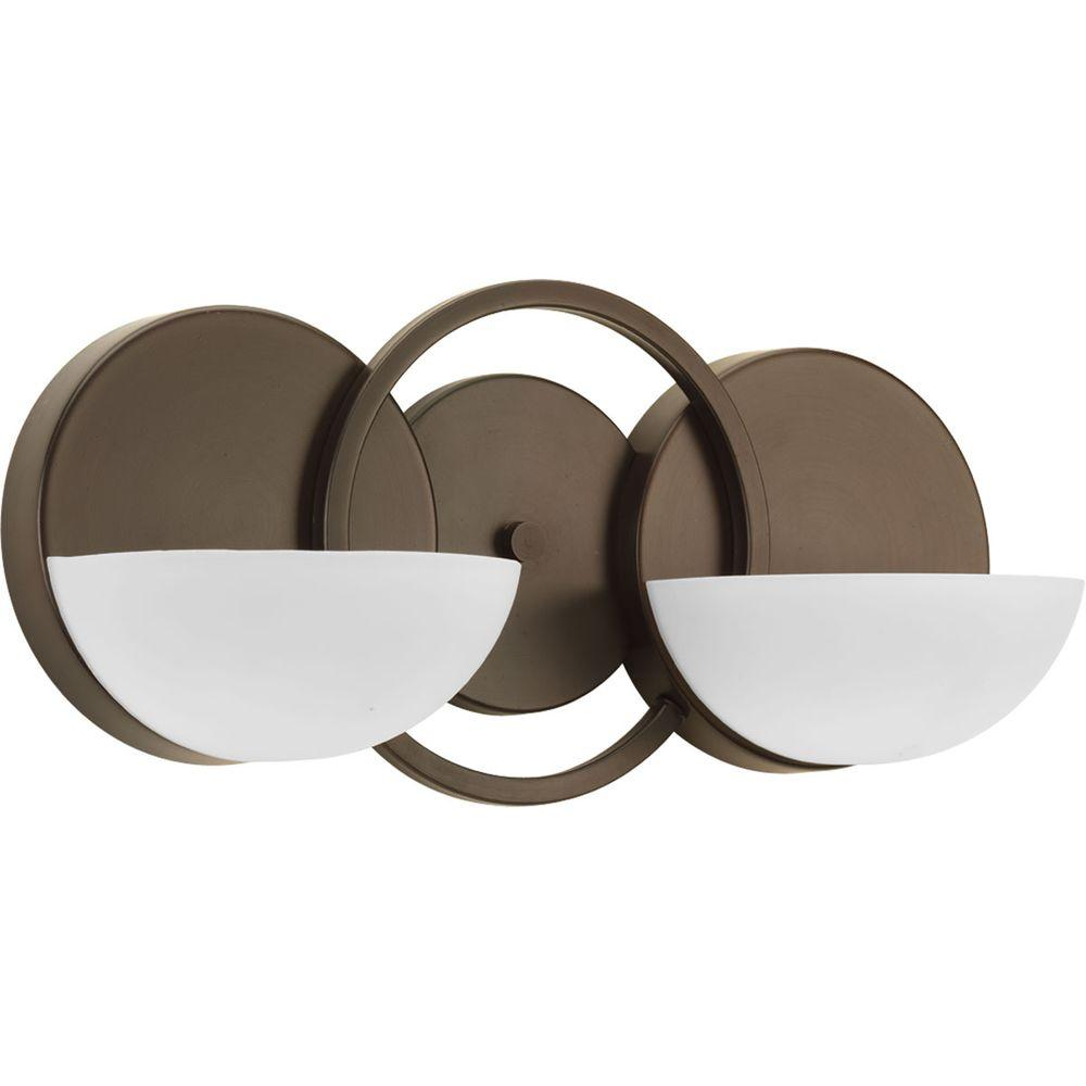 Progress Lighting Engage Collection 2-Light Antique Bronze Vanity Light with Etched Glass Shades