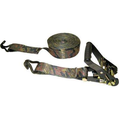 27 ft. x 2 in. x 10000 lb. Camouflage Ratchet Tie-Down with J-Hook
