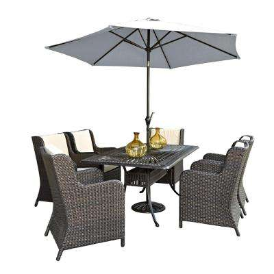 Largo 7-Piece Patio Dining Set with Riviera Chairs and Umbrella