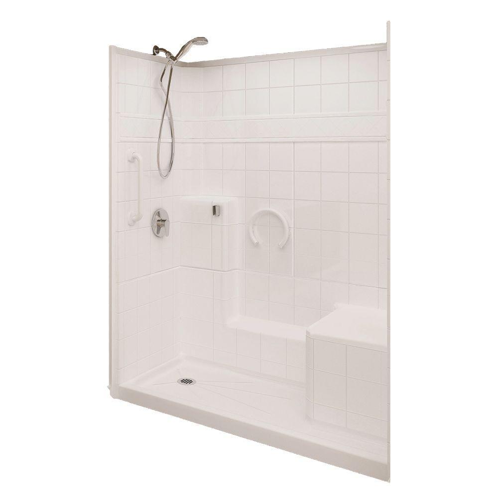 Ella Prestige 32 in. x 60 in. x 77 in. 3-piece Low Threshold Shower System in White with Left Drain