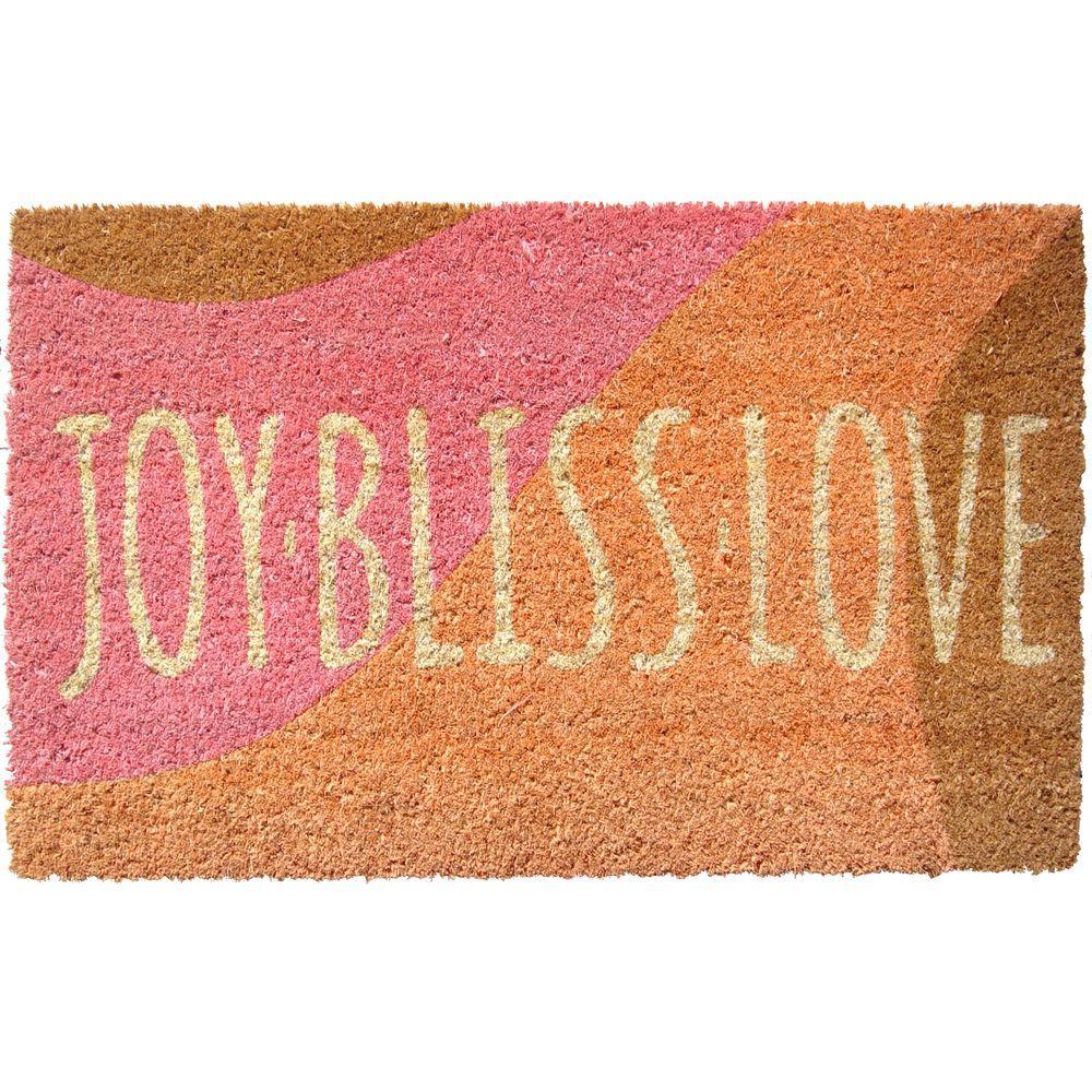 Entryways Joy Bliss Love 17 in. x 28 in. Non Slip Coir Door Mat