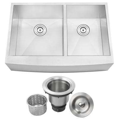 Bryce Zero Radius Farmhouse Apron Front 16-Gauge Stainless Steel 33 in. Double Basin Kitchen Sink with Basket Strainer