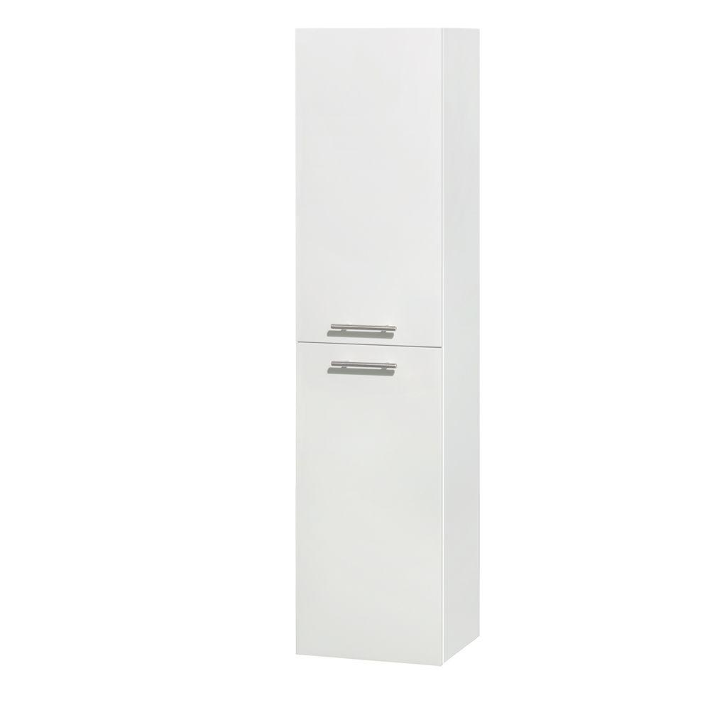 Wyndham Collection Amare 13-3/4 in. W x 56 in. H x 12 in. D Bathroom Storage Wall Cabinet in Glossy White
