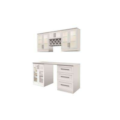 Home Bar White 6-Piece Shaker Style Bar Cabinet