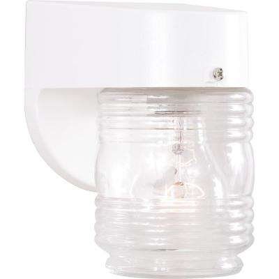 1-Light White Indoor or Outdoor Polycarbonate Wall Mount Sconce with Honey / Jelly / Beehive Jar Clear Glass Shade