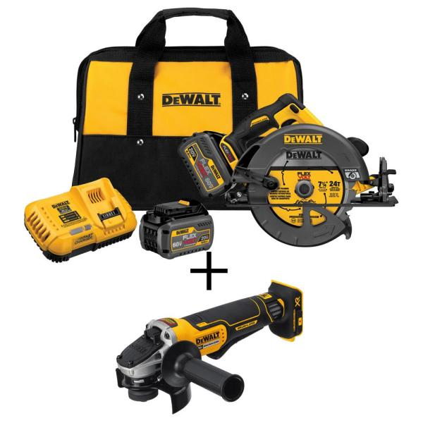 DEWALT FLEXVOLT 60-Volt MAX Lithium-Ion Cordless Brushless 7-1/4 in. Circular Saw, 2 Batteries, Charger, w/ Bonus Angle Grinder
