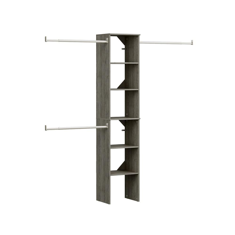 ClosetMaid Style + 14 in. D x 17 in. W x 82.25 in. H Coastal Teak Wood Floor Mount 6-Shelf Closet Kit With Hang Rods
