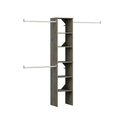 Style + 14 in. D x 17 in. W x 82.25 in. H Coastal Teak Wood Floor Mount 6-Shelf Closet Kit With Hang Rods
