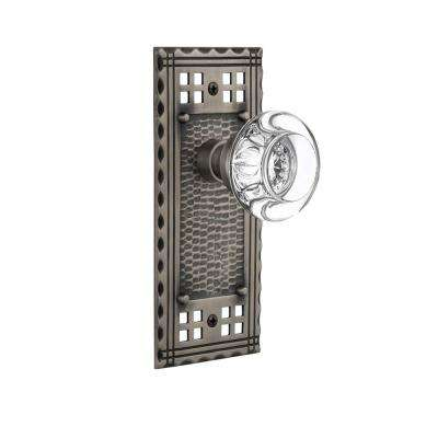 Craftsman Plate 2-3/8 in. Backset Antique Pewter Privacy Bed/Bath Round Clear Crystal Glass Door Knob