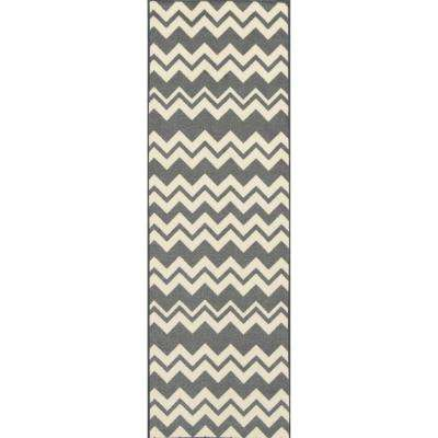 Studio Collection Waves Design Grey 2 ft. x 5 ft. Non-Skid Runner Rug