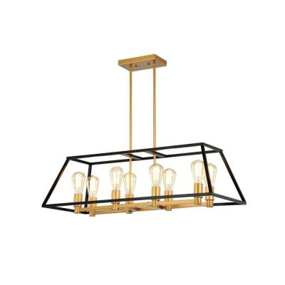 Jerry 14 in. 8-Light Indoor Black and Gold Chandelier with Light Kit