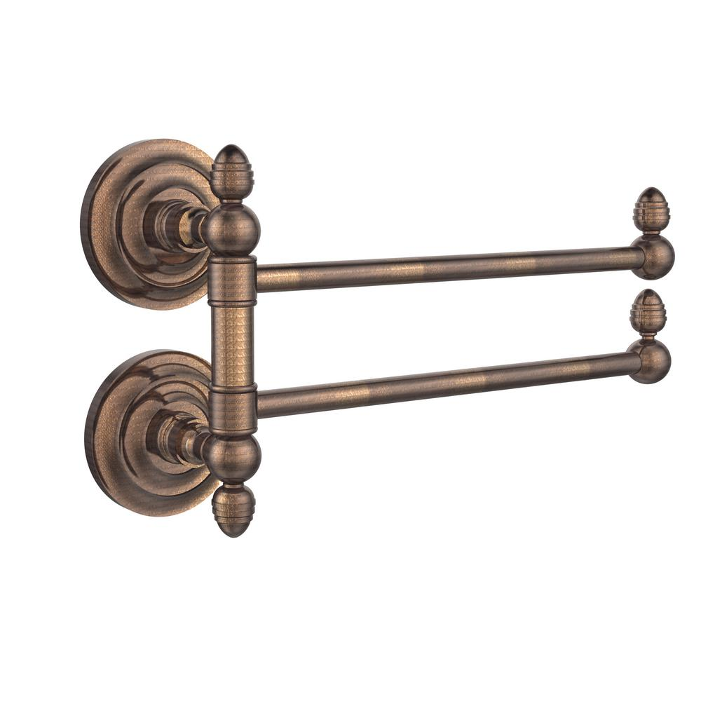 Allied Brass Que New Collection 2 Swing Arm Towel Rail in Venetian Bronze