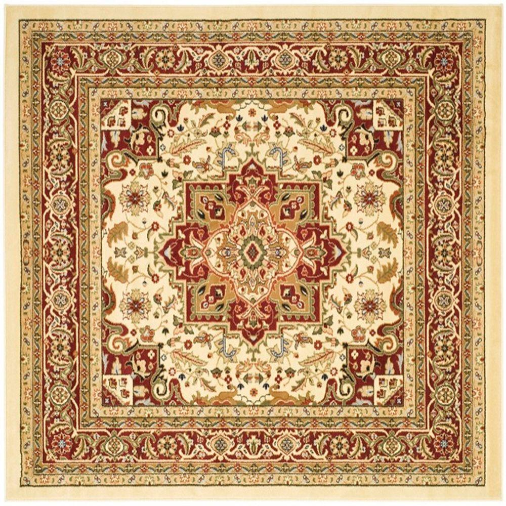 Safavieh lyndhurst ivory red 10 ft x 10 ft square area for 10 x 9 square feet
