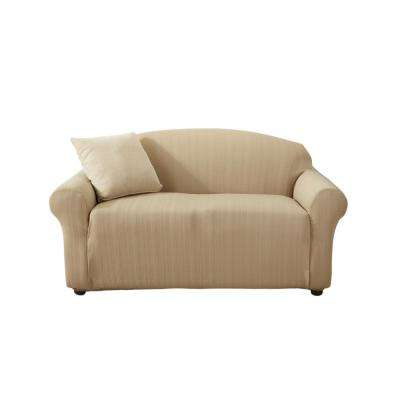 Darla Collection Flax Luxurious Cable Knit Stretch Fit Form Fitting Loveseat Slipcover