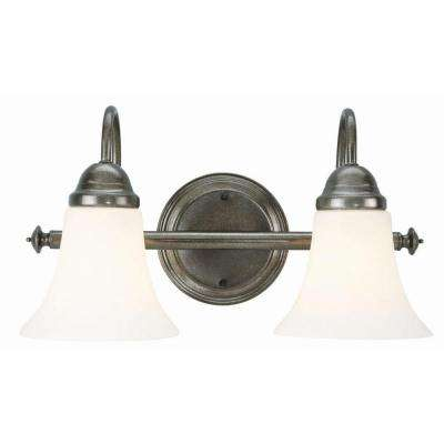 Cabriolet 2-Light Rustic Pewter Wall Mount Light Fixture