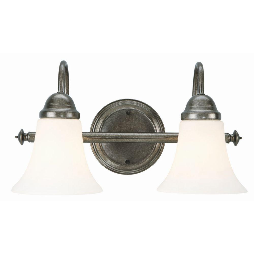 Design House Cabriolet 2-Light Rustic Pewter Wall Mount Light Fixture