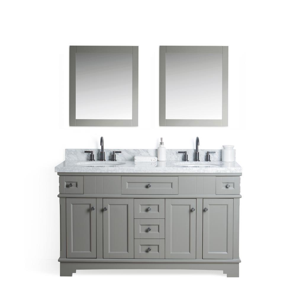Gray Marble Top White Gray White Basin Mirror