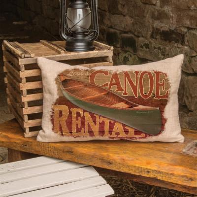 Lodge Hollow Canoe Rentals 12 in. x 20 in. Natural Pillow Cover