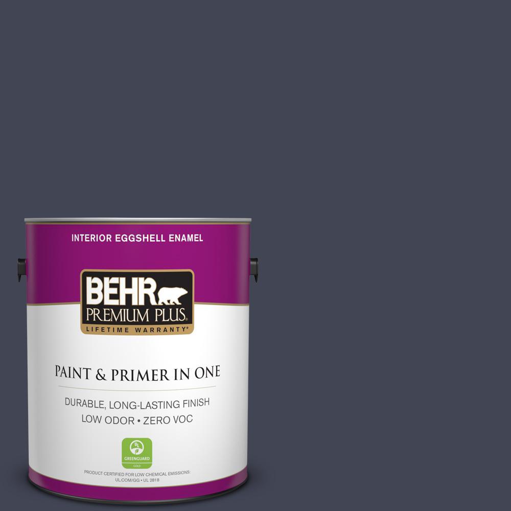 1 gal. #PPU15-19 Black Sapphire Zero VOC Eggshell Enamel Interior Paint