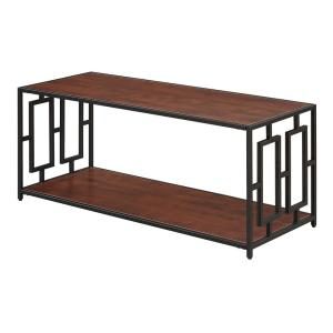 Town Square 42 in. Black/Cherry Large Rectangle Wood Coffee Table with Shelf