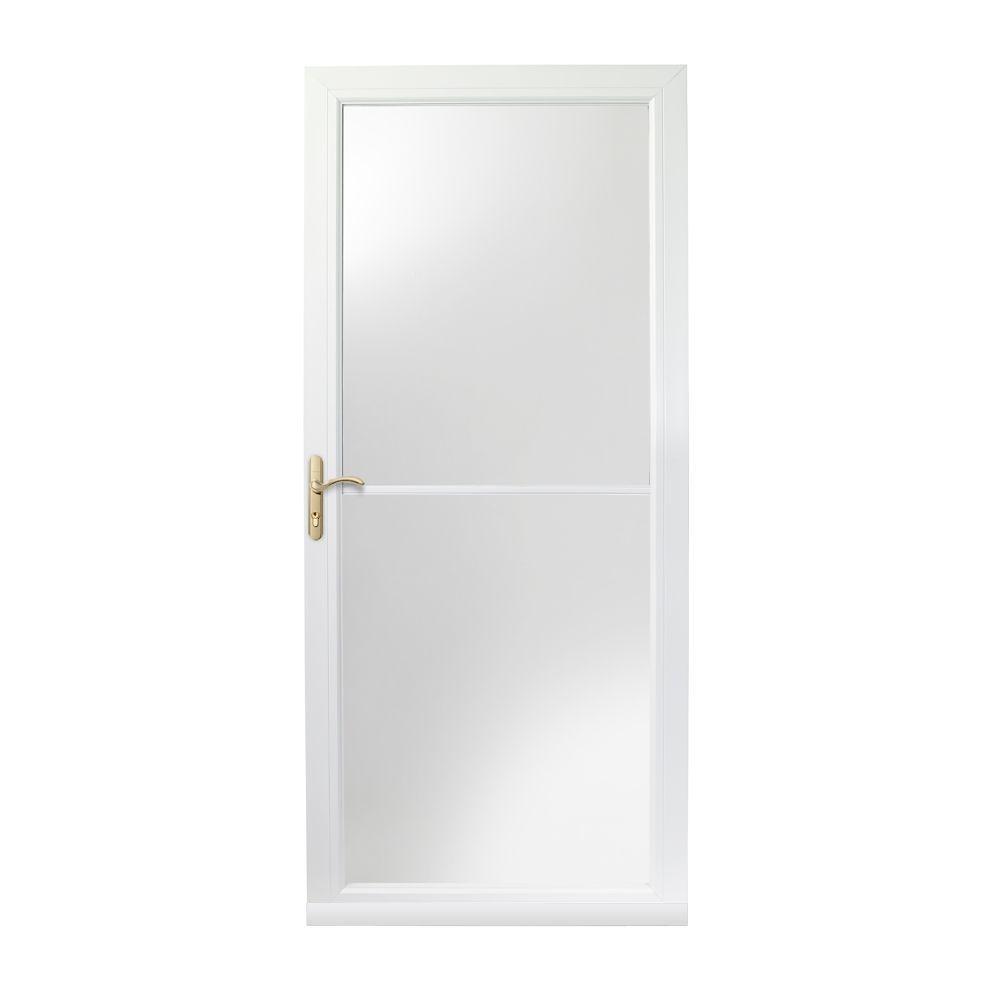 Andersen 36 in. x 80 in. 3000 Series White Left-Hand Self-Storing Easy Install Aluminum Storm Door with Brass Hardware