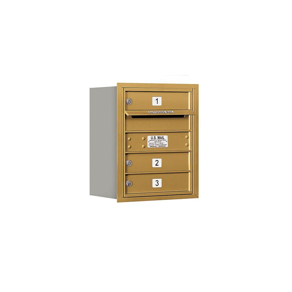 Salsbury Industries 3700 Series 20 in. 5 Door High Unit Gold USPS Rear Loading 4C Horizontal Mailbox with 3 MB1 Doors