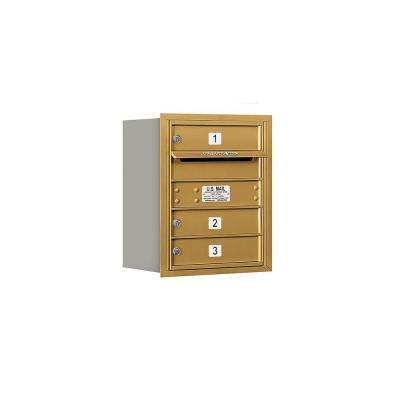 3700 Series 20 in. 5 Door High Unit Gold USPS Rear Loading 4C Horizontal Mailbox with 3 MB1 Doors