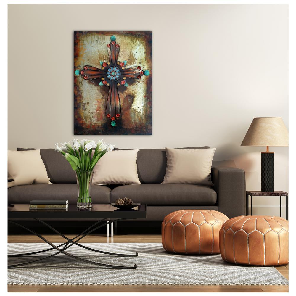 """29 in. x 39 in. """"Spirit Cross"""" Metal Wall Art"""