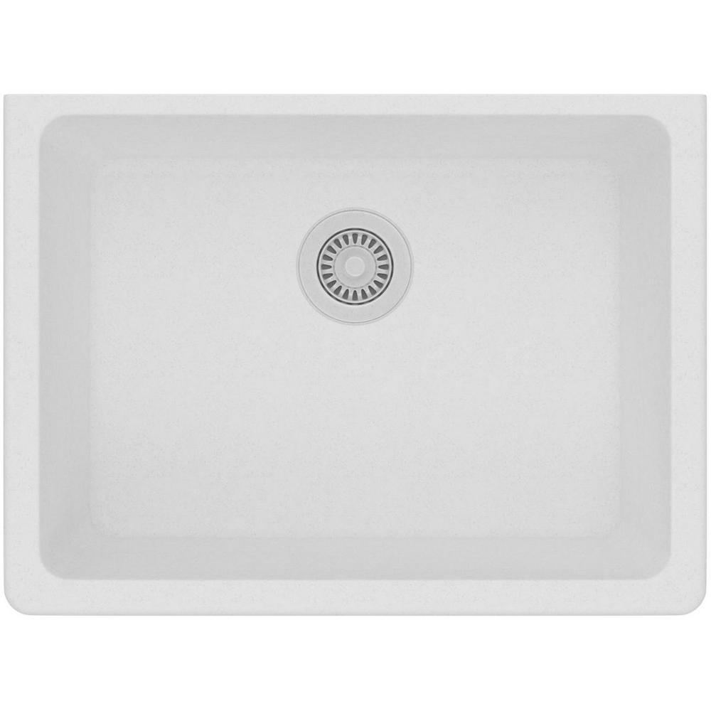 Quartz Classic Undermount Composite 25 in. Single Bowl Kitchen Sink in White