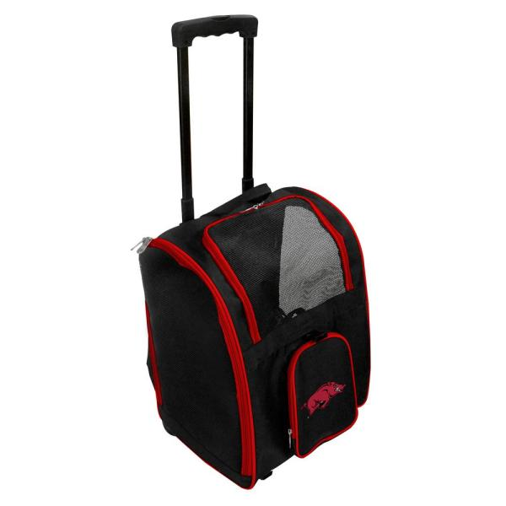 Denco NCAA Arkansas Razorbacks Pet Carrier Premium Bag with wheels in