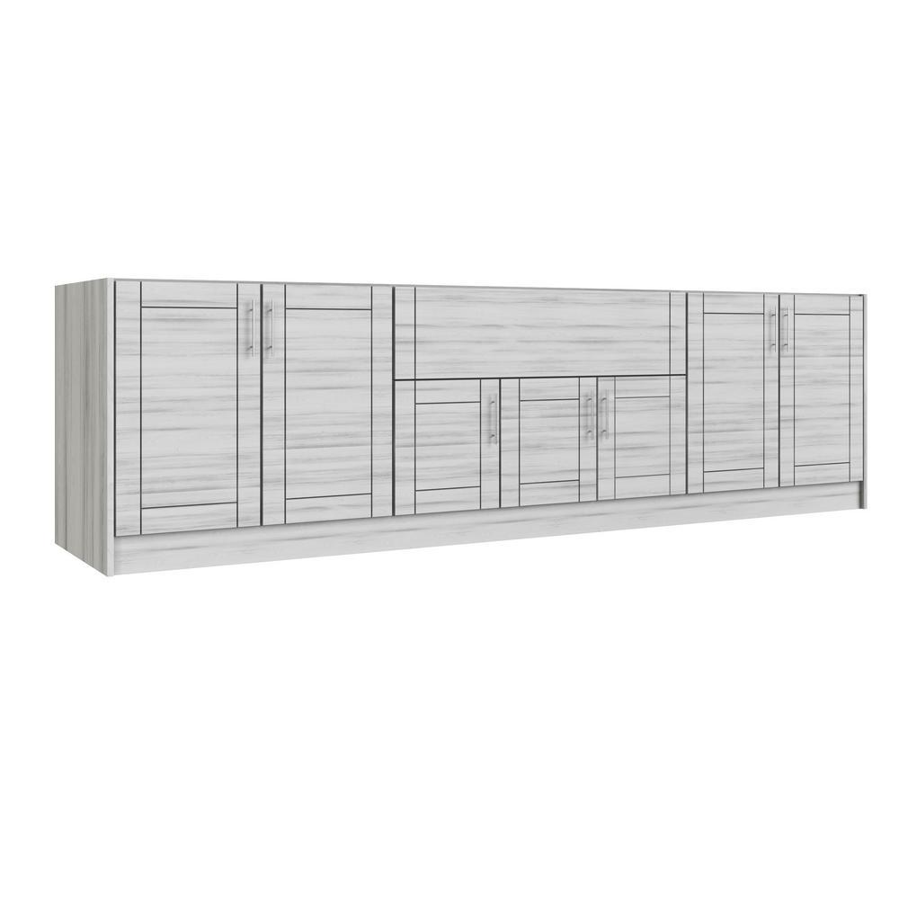 Miami Whitewash 20-Piece 120 in. x 34.5 in. x 27 in. Outdoor Kitchen Cabinet Island Set