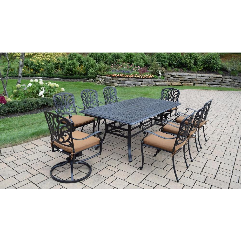 Oakland Living Cast Aluminum 9 Piece Rectangular Patio Dining Set With  Sunbrella Cushions