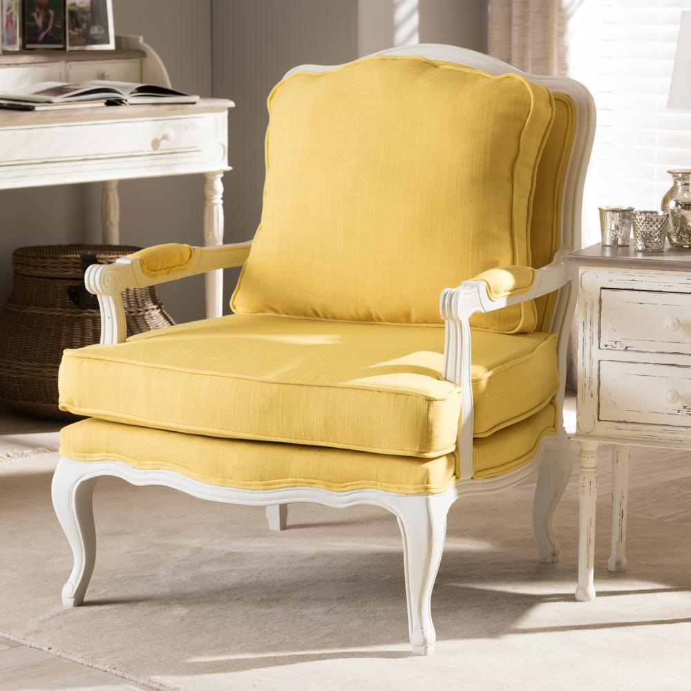 Baxton Studio Antoinette Yellow Fabric Upholstered Accent Chair