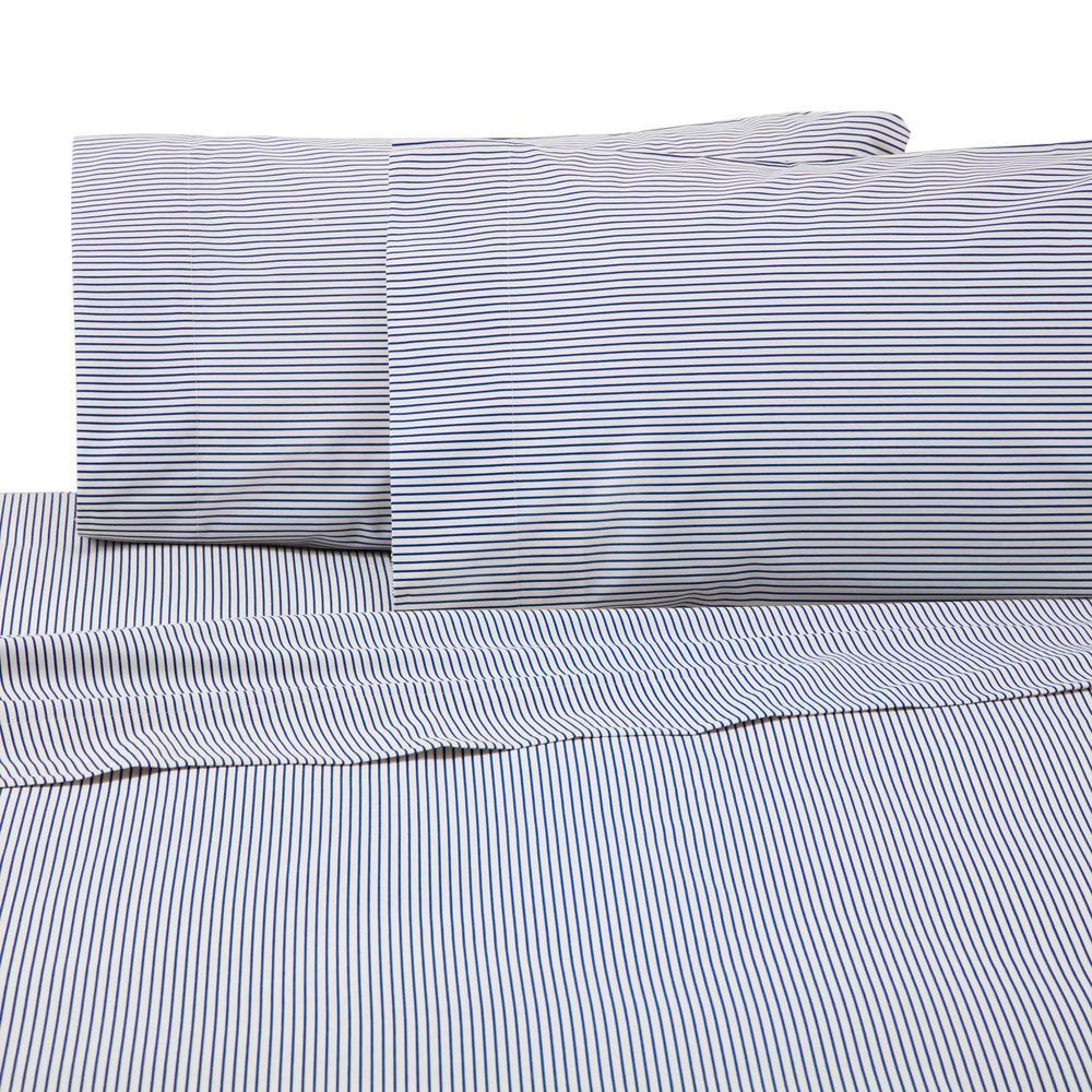 Bradley Stripe 3-Piece Blue Cotton/Poly Twin Sheet Set