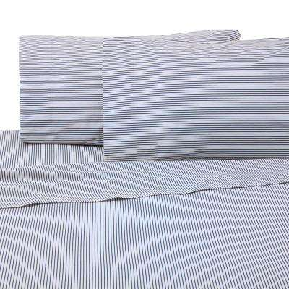 Bradley Stripe 4-Piece Blue Cotton/Poly Queen Sheet Set