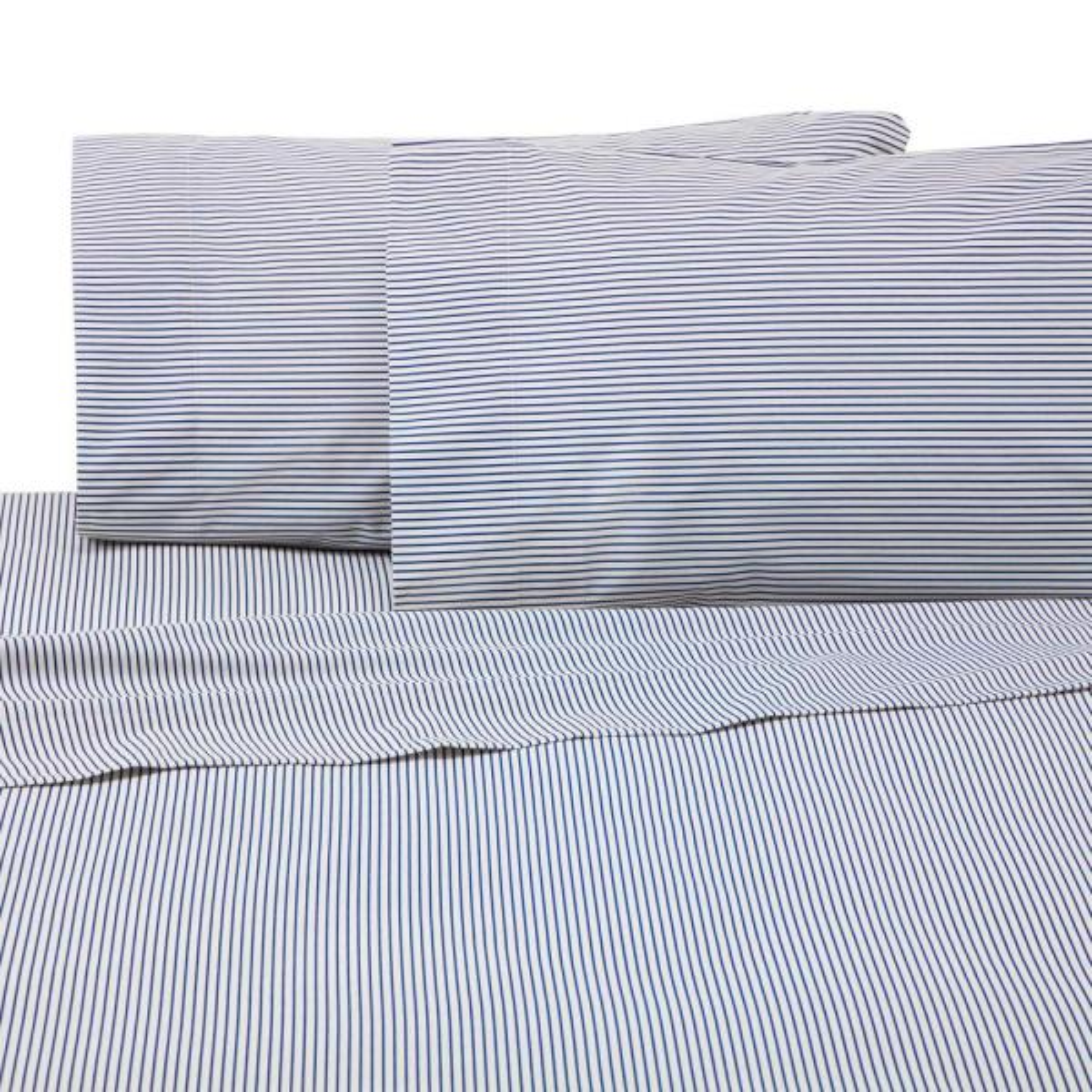 IZOD Bradley Stripe 4-Piece Blue Cotton/Poly Queen Sheet Set 028828315632